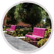 Pink Chairs At Grand Park Round Beach Towel
