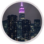 Pink Empire State Building Round Beach Towel
