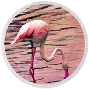 Pink Flamingo Two Round Beach Towel
