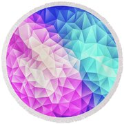 Pink Ice Blue  Abstract Polygon Crystal Cubism Low Poly Triangle Design Round Beach Towel