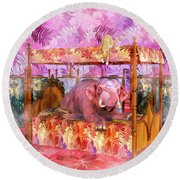 Pink Laughing Elephant Round Beach Towel