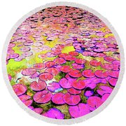Pink Lily's Round Beach Towel