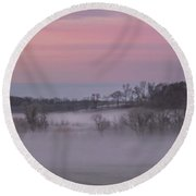 Pink Misty Morning #1 - Winter Fog Round Beach Towel by Patti Deters