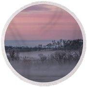 Pink Misty Morning #3 - Misty Field Round Beach Towel by Patti Deters
