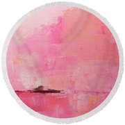 Pink Sky Abstract Round Beach Towel