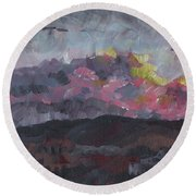 Pink Sky Delight Round Beach Towel