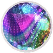 Pink Triangle Fractal Round Beach Towel