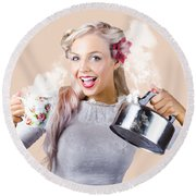 Pinup Girl Holding Kettle And Mug Round Beach Towel