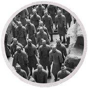 Pit 1 Of Terra Cotta Warriors In Black And White Round Beach Towel