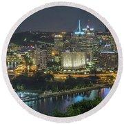 Pittsburgh Lights Round Beach Towel by David R Robinson