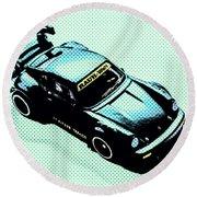 Pixel Porsche Round Beach Towel