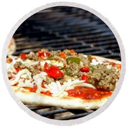 Pizza On The Grill Round Beach Towel