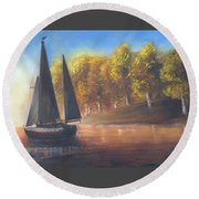 Plain Sailing, Boat Painting Round Beach Towel