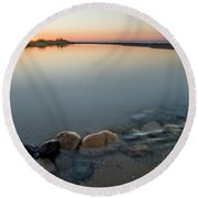 Platte River Sunset 2x1 Panorama Round Beach Towel
