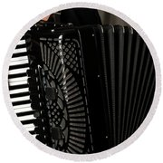 Play The Accordion Round Beach Towel