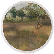 Ploughed Field Bordered By Trees Round Beach Towel