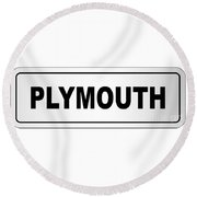 Plymouth City Nameplate Round Beach Towel