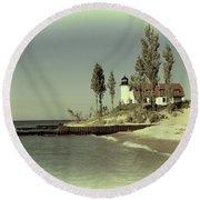Point Betsie Lighthouse 2 Round Beach Towel