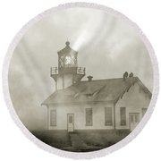Point Cabrillo Lighthouse California Sepia Round Beach Towel