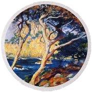 Point Lobos Trees 1919 Round Beach Towel