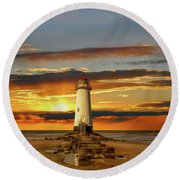 Point Of Ayr Lighthouse Sunset Round Beach Towel by Adrian Evans