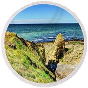 Pointe Du Hoc Panorama Round Beach Towel