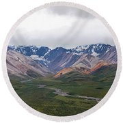 Polychrome Pass In Denali National Park Round Beach Towel