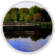 Pond Refletions Round Beach Towel