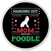 Poodle Ugly Christmas Sweater Xmas Gift Round Beach Towel