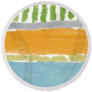 Poolside 1- Art By Linda Woods Round Beach Towel