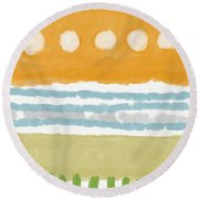 Poolside 2- Art By Linda Woods Round Beach Towel