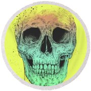 Pop Art Skull Round Beach Towel
