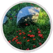 Poppies And Rocks Round Beach Towel