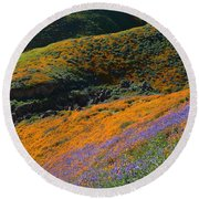 Poppies Bluebells And Rolling Hills Round Beach Towel