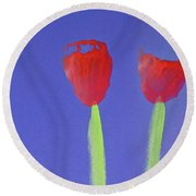 Poppies Round Beach Towel