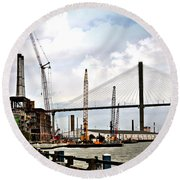 Port Of Savannah Crane Construction Round Beach Towel