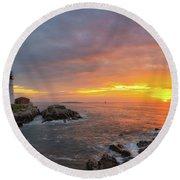 Portland Head Lighthouse Sunshine  Round Beach Towel