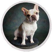 Portrait Of A French Bulldog Round Beach Towel