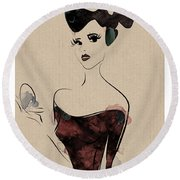 Portrait Of A Girl With Make Up Powder Round Beach Towel