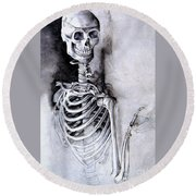 Portrait Of A Skeleton Round Beach Towel