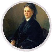 Portrait Of Anna Olsufyeva Round Beach Towel