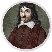 Portrait Of Descartes Round Beach Towel
