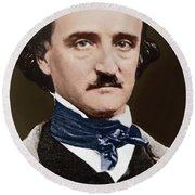 Portrait Of Edgar Allan Poe, Circa 1849 Round Beach Towel
