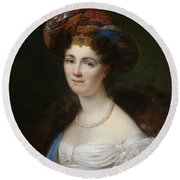 Portrait Of Josephine Victoire Meslier Duvey D  Round Beach Towel