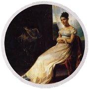 Portrait Of Laura Bro 1820 Round Beach Towel