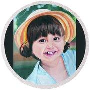 Portrait Of Little Girl. Round Beach Towel