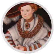 Portrait Of Magdalena Of Saxony, Wife Of Elector Koachim II Round Beach Towel