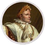 Portrait Of Napoleon In His Coronation Robes Round Beach Towel by Anne-Louis Girodet-Trioson