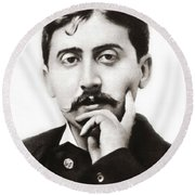 Portrait Of The French Author Marcel Proust Round Beach Towel