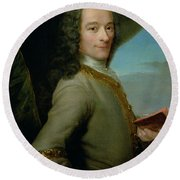 Portrait Of The Young Voltaire  Round Beach Towel